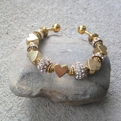 Gold Heart Cuff Bracelet Jewelry Gift OOAK Gift by Colbydesigns