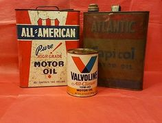 LOT-of-3-Vintage-antique-2-gallon-motor-oil-tin-cans-Collectors-VERY-RARE