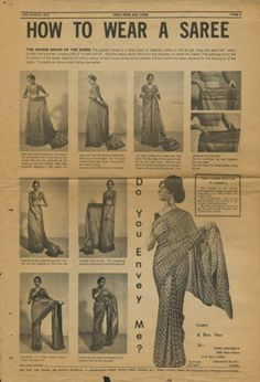 "Newspaper clipping from March 3, 1970 issue of India News and Views, featuring an illustrated guide on ""How To Wear A Saree."""