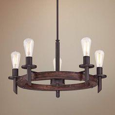 Quoizel Tavern 5-Light Dark Bronze Chandelier - #3M284 | Lamps Plus