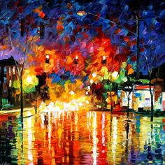 Title:   NIGHT TRAFFIC LIGHTS by Leonid Afremov  Size: