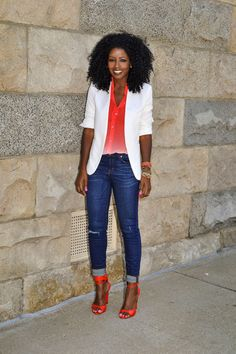 Blazer + Ombre Button Up + Skinnies