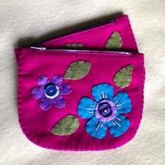 Excited to share this item from my #etsy shop: flower pouch, small pouch, coin pouch, coin purse, card wallet, small flower wallet, felt wallet Felt Wallet, Card Wallet, Blue And Purple Flowers, Red Tigers Eye, Small Flowers, Coin Purse, Etsy Shop, Purses, Handmade Gifts
