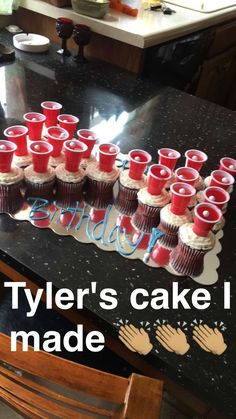 Something I found & decided to try for my boyfriends birthday. But mine are… Something I found & decided to try for my boyfriends birthday. But mine are a little different. Actual Jell-O shots in the mini red solo cups ☺️ birthday gifts for boyfriend Boyfriends 21st Birthday, 22nd Birthday, Birthday Ideas For Boyfriend, 21st Birthday Cupcakes, Boyfriend Ideas, 21st Birthday Gifts For Guys, 25th Birthday Ideas For Him, 18th Birthday Present Ideas, 21st Birthday Drinks