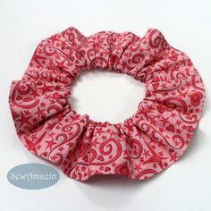 Pink Hearts and Stars Pet Scrunchie Neck Ruffle | SewAmazin #dogfashion #ValentinesDay #indiemade