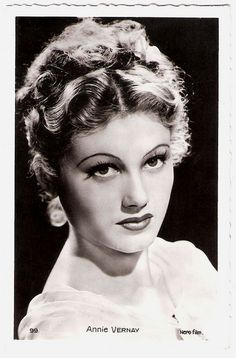 """""""Swiss-French actress Annie Vernay (1921 - 1941) catapulted into stardom at an early age, but her career was cut short, when she died at the age of 19."""" #vintage #French #Swiss #actress #movies #films #1930s #1940s"""