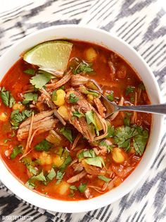 This quick 30 Minute Posole has intense slow cooked flavor thanks to an enchilada sauce base and leftover pulled pork. Step by step photos. 30 minute Posole by Mexican Dishes, Mexican Food Recipes, Ethnic Recipes, Mexican Desserts, Good Food, Yummy Food, Tasty, Delicious Recipes, Pork Recipes