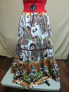ON SALE! WITH FREE SHIPPING! Hippie Peasant Skirt Paisley Floral Print Satin Trim Choices Size M 100% Cotton    eBay