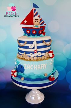 Nautical+Baby+Boy+Cake+-+Cake+by+Rose