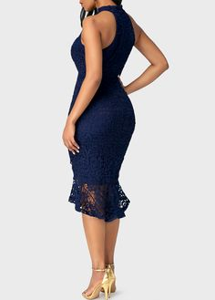 Sleeveless Navy Blue Asymmetric Hem Lace Dress on sale only US$42.84 now, buy cheap Sleeveless Navy Blue Asymmetric Hem Lace Dress at liligal.com