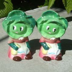 Vintage Anthropomorphic Cabbage Girl Salt and Pepper Shakers