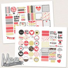 Hello Love Red planner stickers,Valentines day stickers,Printable February stickers,Planner printable,Personal size,Mini planner stickers by MeeDigiScrap on Etsy