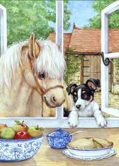 Horse and dog by Debbie Cook