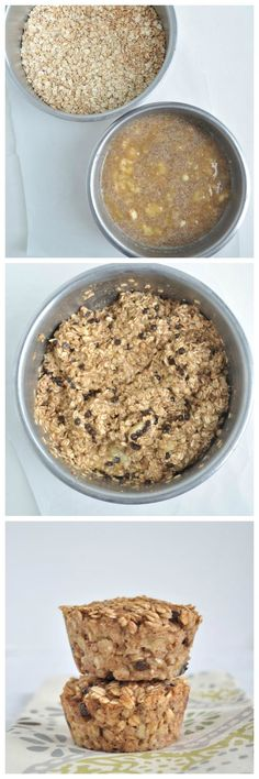 Banana Bread Baked Oatmeal.  A healthy breakfast recipe for on the go.  These are nut free and   Vegan and gluten free.