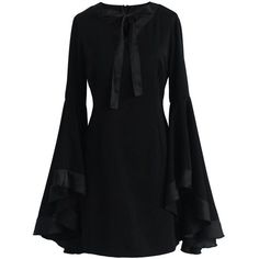Chicwish Awe in Bell Sleeves Black Dress ($62) ❤ liked on Polyvore featuring dresses, black, little black dress, retro style dresses, flared sleeve dress, lbd dress and fit flare dress