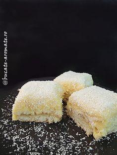 Prăjitura asta cu nucă de cocos e una dintre cele mai bune pe carele ştiu. Epufoasă, cremoasă, ce mai, e delicioasă de te lingi pe degete şi la propriu şi la figurat. Imaginaţi-vă blatul de bezea cu cocos combinat cu crema bogată şi aromată de vanilie, ce răsfăţ! Sau mai bine, nu vă imaginaţi nimic, ci apucaţi-vă de treabă şi vă veţi convinge. Reţeta nu e deloccomplicată, nu are cine… Romanian Desserts, Romanian Food, Sweets Recipes, Cookie Recipes, Yummy Recipes, Good Food, Yummy Food, Pastry Cake, Sweet Tarts