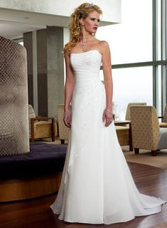 Strapless Straight Neckkine, A line Skirt, Chapel Train, Lace up Elegant Wedding Dress WM-0029