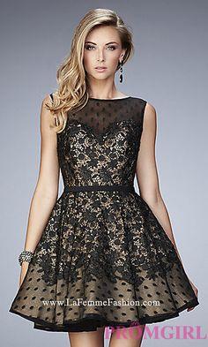 Black and Nude Short La Femme Prom Dress at PromGirl.com