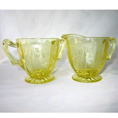Hocking Cameo Yellow Depression Glass Creamer and Sugar Bowl Set Ballerina Dancing Girl