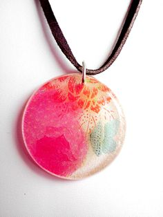 Resin Pendant Necklace Multicolored Floral Butterfly on Leather Cord Sterling Clasp, via Etsy.