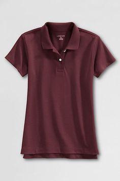 School Uniform Short Sleeve Feminine Fit Interlock Polo Shirt from Lands' End oak hall