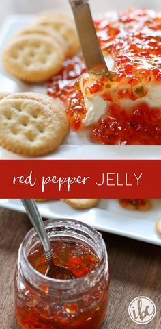 homemade Red Pepper Jelly makes a delicious holiday appetizer served over cream cheese with crackers.This homemade Red Pepper Jelly makes a delicious holiday appetizer served over cream cheese with crackers. Jam Recipes, Canning Recipes, Drink Recipes, Bread Recipes, Recipies, Jalapeno Jam, Jalapeno Pepper Jelly, Pepper Jelly Recipes, Sauces