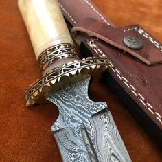 Handmade Damascus Steel Dagger Knife With Leather Sheath....Knives Hub Dagger Knife, Custom Knives, Damascus Steel, Everyday Carry, Brass, Bushcraft, Edc, Leather, Handmade
