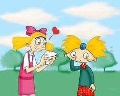 Hey Arnold So Shojo by Rei-Hikaru on DeviantArt Arnold And Helga, Hey Arnold, Remember The Time, Great Pic, Drawing Practice, Photo Canvas, Messy Hairstyles, Inktober, Canvas Prints