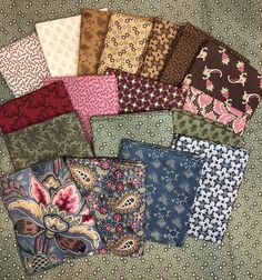 18 fat quarters of Chatham Row by Paula Barnes for Marcus Fabrics Fat Quarters, The Row, Quilts, Blanket, Sewing, Red, Pattern, Fabric, Tejido