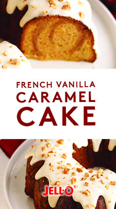 This fall, fall in love with French Vanilla-Caramel Cake. Made with JELL-O Vanilla Instant Pudding, MAXWELL HOUSE INTERNATIONAL French Vanilla, PHILADELPHIA Cream Cheese, KRAFT Caramels, PLANTERS Walnuts and more. Ideally enjoyed while wearing flannel PJs.