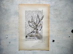 Deer original painting in  watercolor and tempera on page by vumap, €27.00