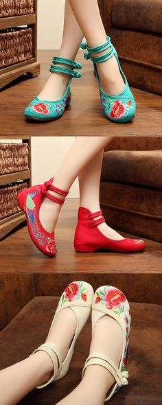 $13.06 Floral Embroidery National Wind Chinese Knot Lace Up Wedge Heel Shoes,Chinese Style Flats,Folk Style Flats,Folk Style Loafers For Women,Casual Flats Ideas