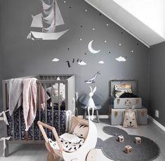 Love the pirate ship floating off. Nursery Wall Decor, Nursery Design, Baby Room Decor, Nursery Room, Kids Bedroom, Baby Boy Rooms, Little Girl Rooms, Baby Boy Nurseries, Ideas Hogar