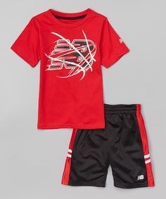 Love this New Balance Black & Red Basketball Tee & Shorts - Infant, Toddler & Boys by New Balance on #zulily! #zulilyfinds