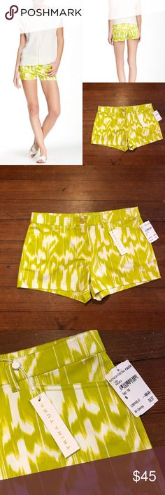 """Trina Turk Myrta Print Margarita Shorts Trina Turk Myrta Print Margarita Shorts. Size 6.  Details - Zip fly with button closure - Front slant pockets - Back faux welt pocket - Allover print - Approx. 9"""" rise, 3"""" inseam - Made in USA - Waist 16"""" flat  2 small holes on waist from tags. Trina Turk Shorts"""