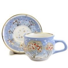 winter scenery ceramic cup and saucer set