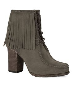 Gray Parker Fringe Short Leather Boot - Women
