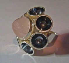 Elis Kauppi for Kupittaan Kulta,  Sterling silver vintage ring, with rose quartz stone, 1969. #Finland | Buy Now!