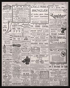 """Bicycle advertisements - Newspaper ads, 1896, Antique home wall decor, 20""""x16"""""""