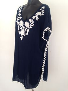 New Navy Embroidered Kaftan – Love Collective