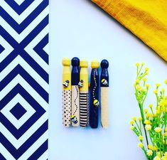 Hand painted bee dolly pegs - 5 pack Beautiful Hands, Art Pieces, Bee, Polka Dots, Super Cute, Packing, Hand Painted, Bedroom, Toys