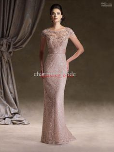 Lace Coral Mother Of The Bride Dresses Short Steeve Rhombic Back Bead Prom Party Dressees 113d00
