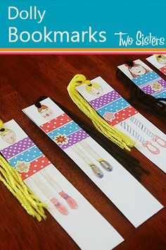 Dolly Bookmarks {Two Sisters Review Books} Sweet craft idea for a weekend, school holiday or sleep over activity. #craftingforgirls