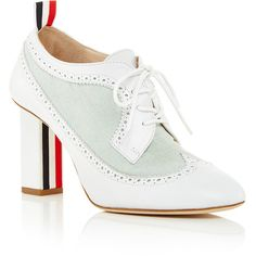 Thom Browne Heavyweight Lace Up Heeled Oxford (10.763.750 IDR) ❤ liked on Polyvore featuring shoes, oxfords, leather oxfords, brogue shoes, lace up oxfords, high heel shoes and leather brogues