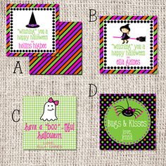 """2.5"""" or 3"""" Square Girl Halloween Enclosure Cards by ShopSprouts on Etsy, $18.00"""