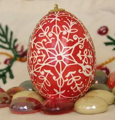 Christmas Ornament Red and White Snowflake Pysanky  Egg. $10.00, via Etsy.