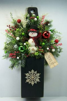 swags wreaths christmas | Details about Christmas Holiday Winter Box Wreath Swag Snowman Door ...