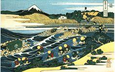Viajeros cruzando el río. Oi Hokusai.