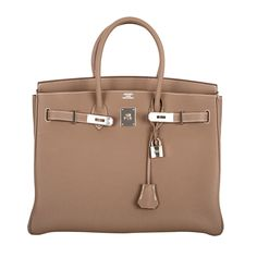 Hermes Birkin Bag Etoupe 35CM Togo Palladium JaneFinds   From a collection of rare vintage top handle bags at https://www.1stdibs.com/fashion/handbags-purses-bags/top-handle-bags/
