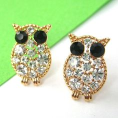 $6 Small Owl Bird Animal Stud Earrings in Gold with Rhinestones